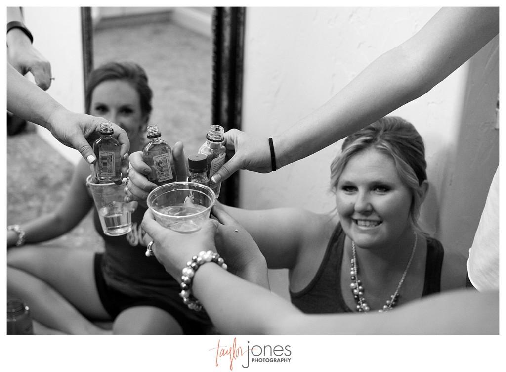 Shot cheers at Baldoria on the water wedding Denver Colorado