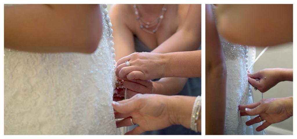 Bride putting on her dress at Baldoria on the water wedding Denver Colorado
