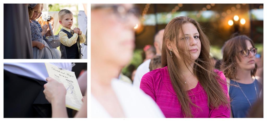 Guests at wedding ceremony at Baldoria on the water wedding Denver Colorado