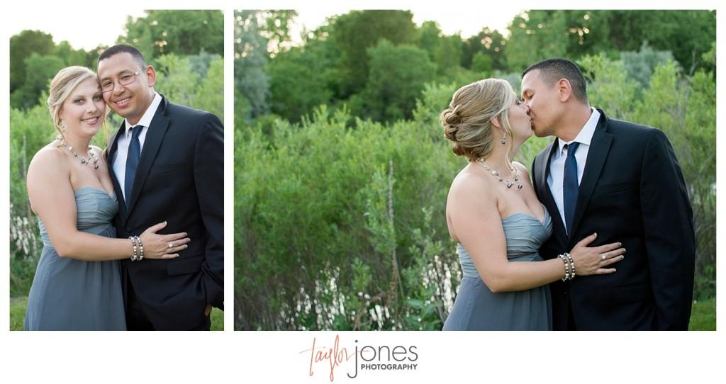 Couple at Reception at Baldoria on the water wedding Denver Colorado