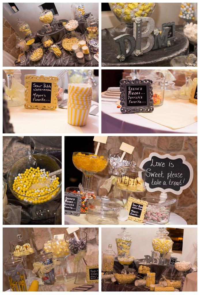 Reception at Baldoria on the water wedding Denver Colorado Candy bar