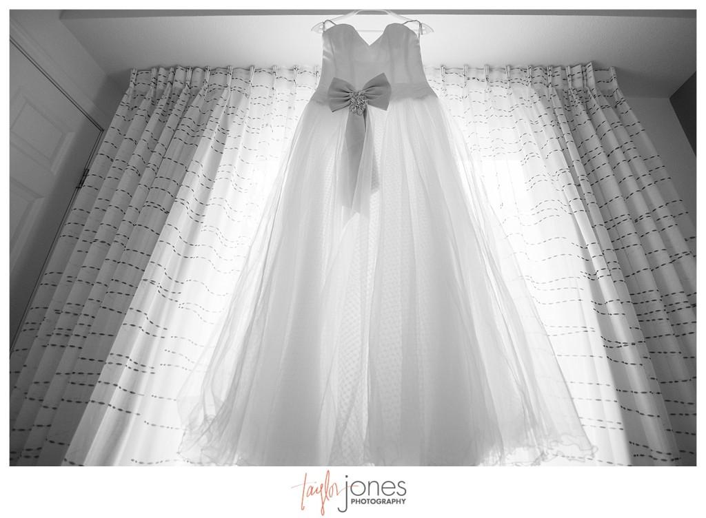 Dress photo Golden Colorado bride getting ready for wedding