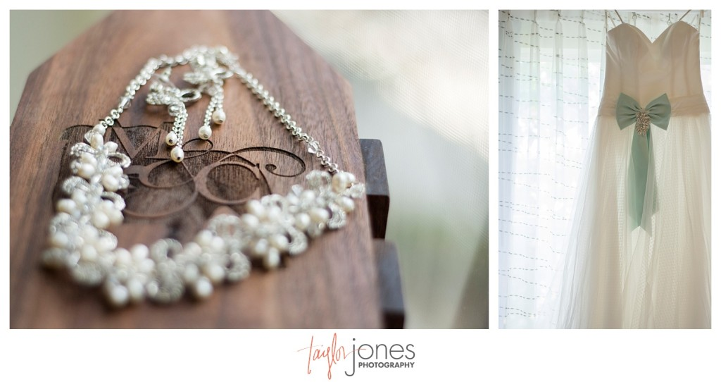 Jewelry and dress Golden Colorado bride getting ready for wedding