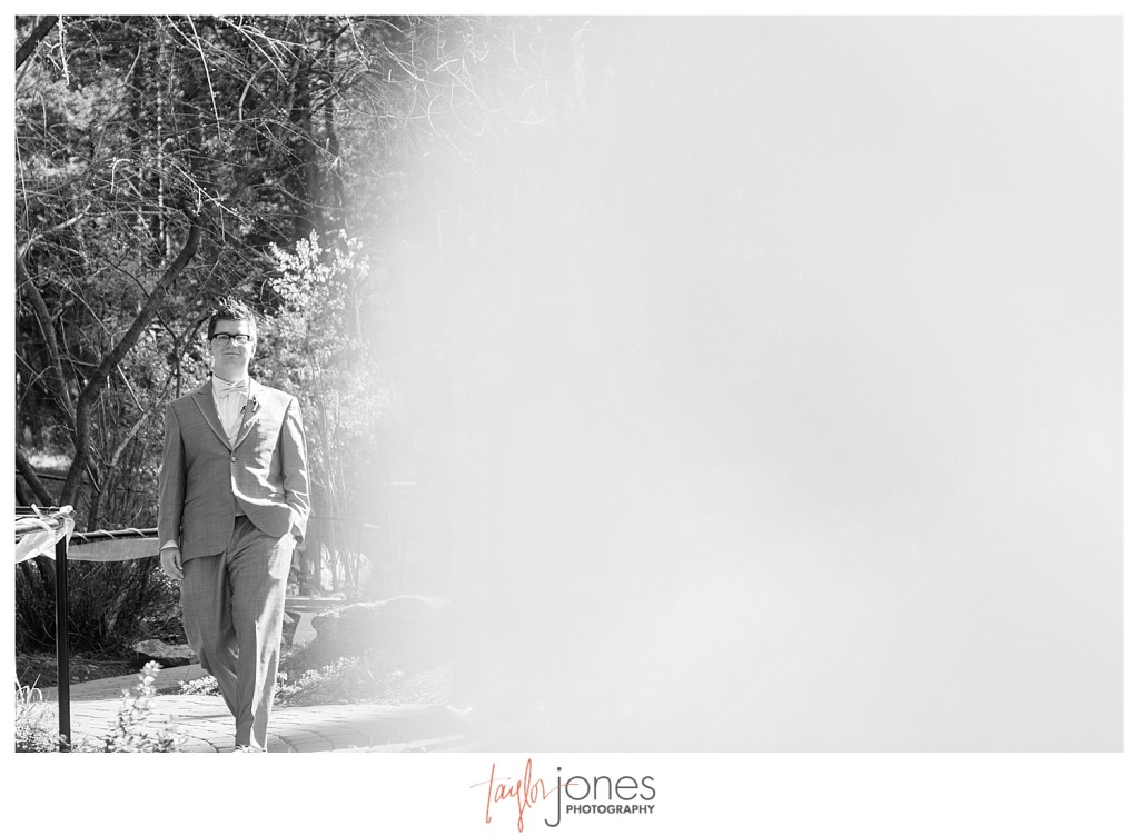Groom walking down the aisle at Ceremony at Pines at Genesee wedding for Cortney and Matt