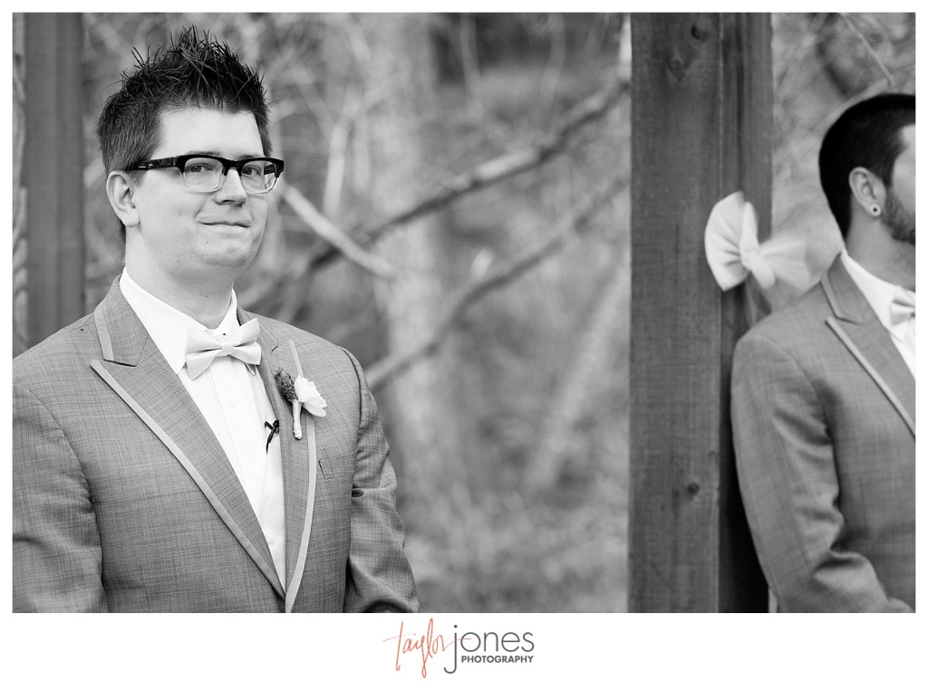 Groom at the alter at Ceremony at Pines at Genesee wedding for Cortney and Matt