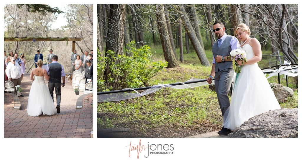 Bride and father walking down the aisle at Ceremony at Pines at Genesee wedding for Cortney and Matt