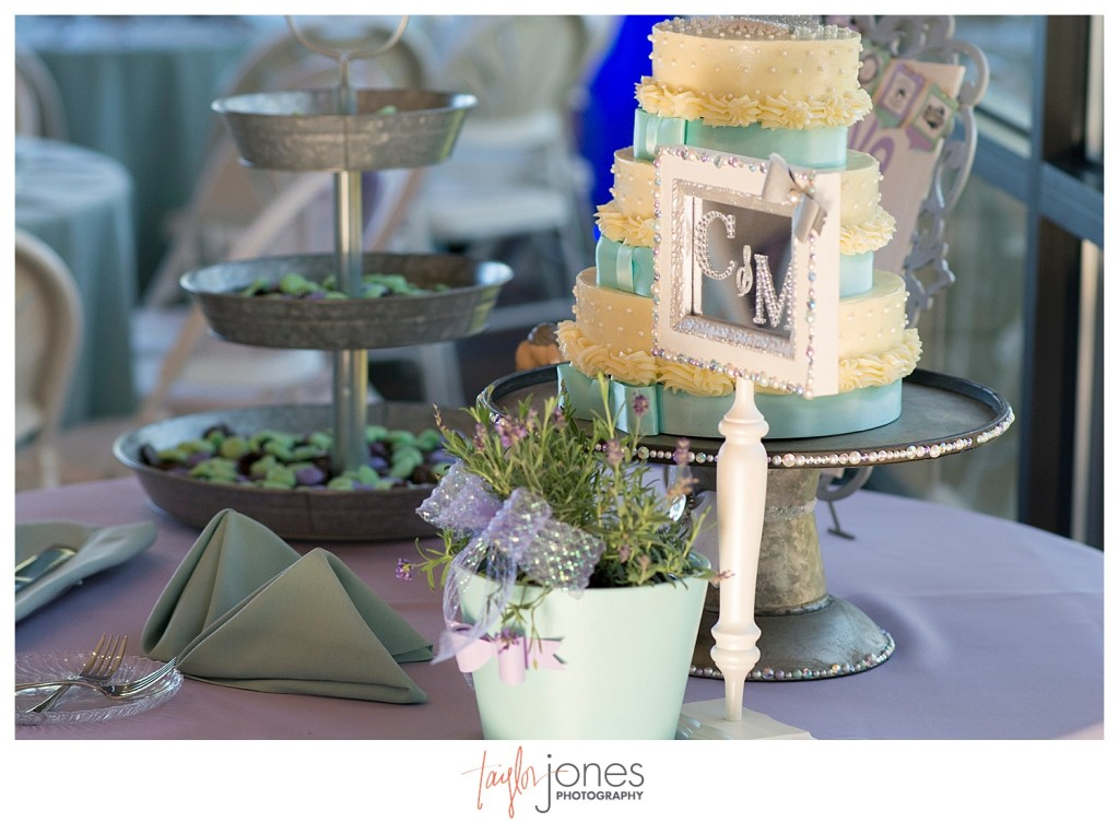 Reception images of beer, lavender, and bulldogs at Pines at Genesee spring wedding with Cortney and Matt