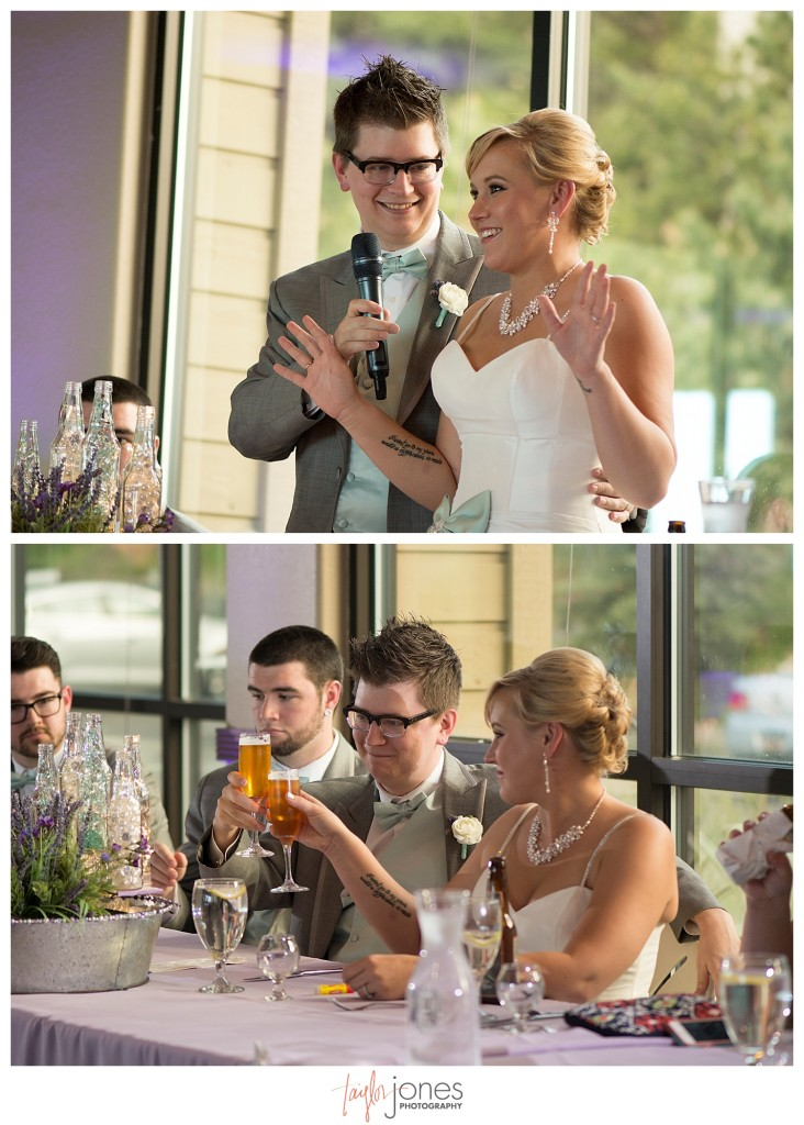 Toasts at Pines at Genesee wedding reception