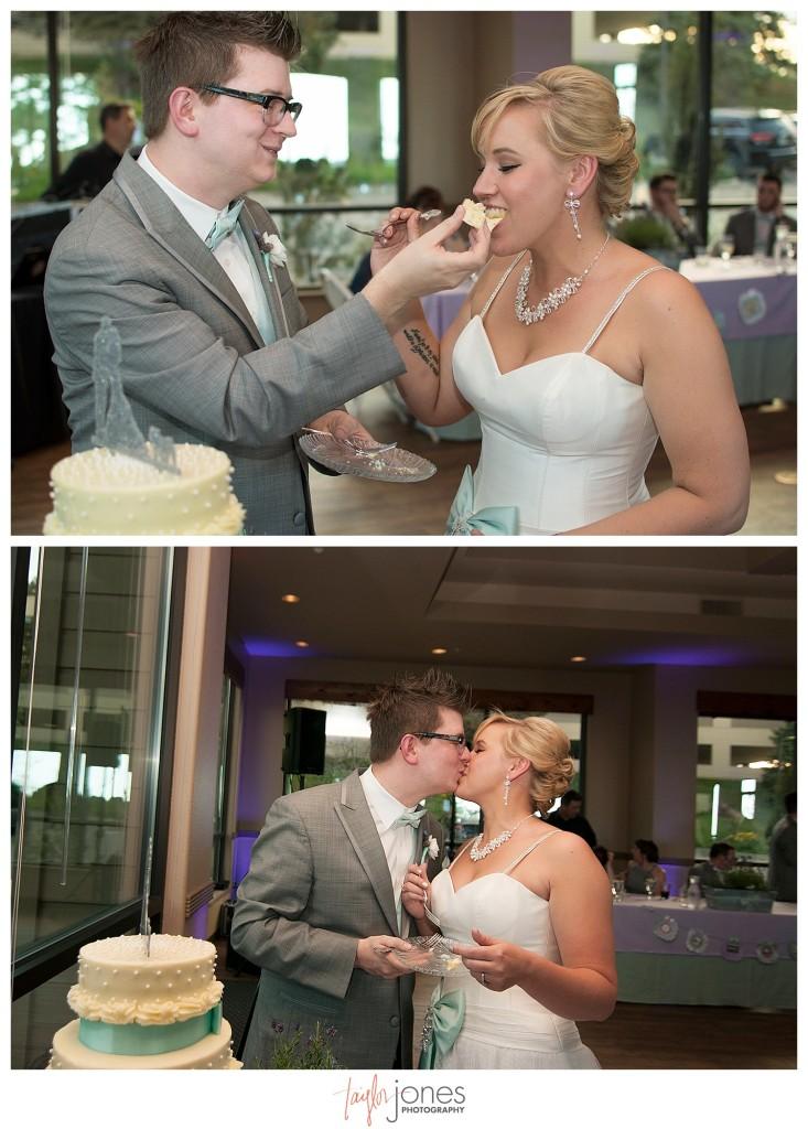 Cake cutting at Pines at Genesee wedding reception