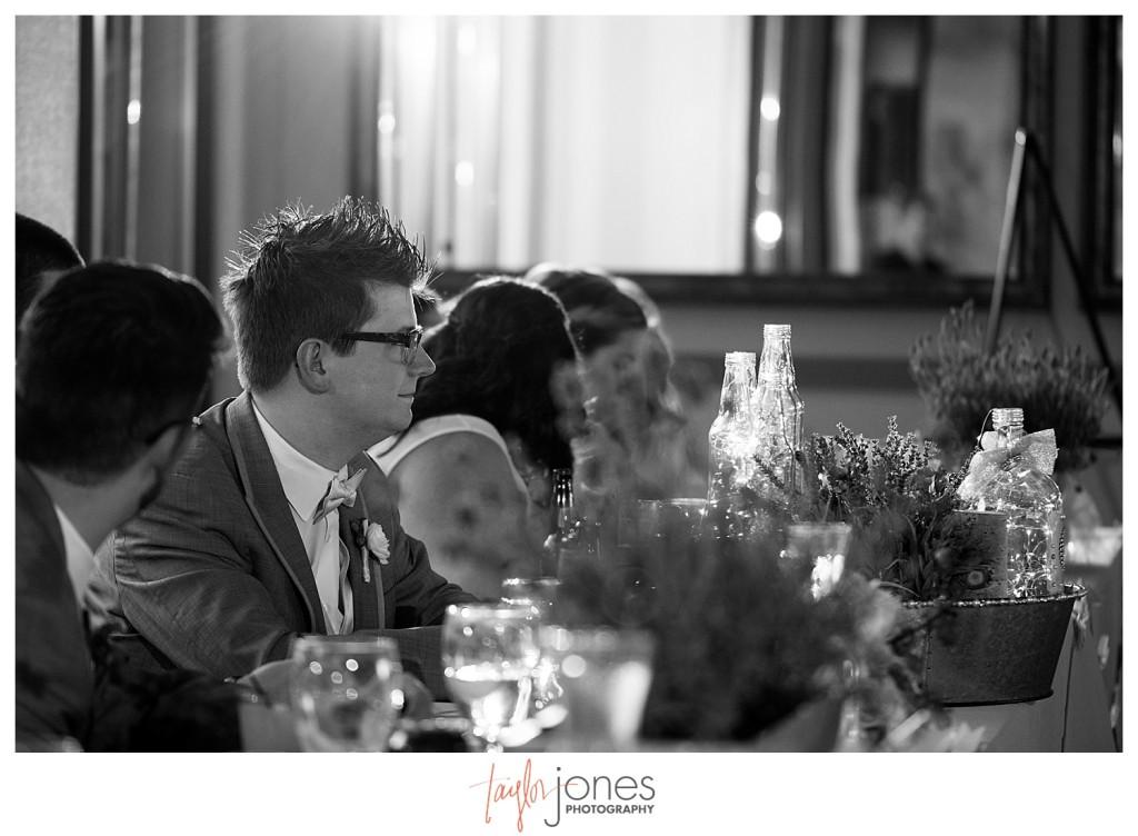 Groom at Pines at Genesee wedding reception