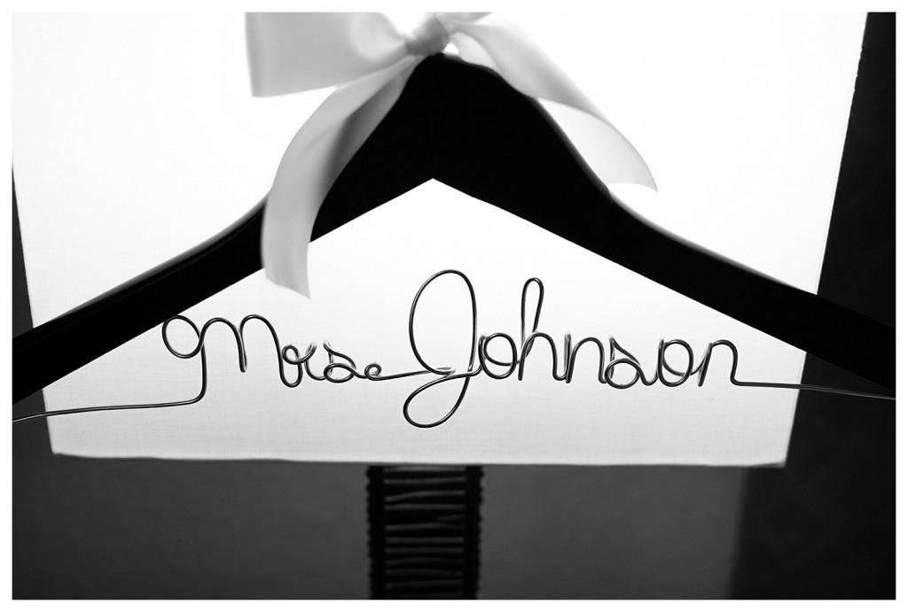 Mrs. Johnson hanger at Golden hotel wedding in Golden, Colorado