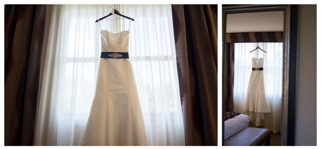 Dress hanging at Golden hotel wedding in Golden, Colorado