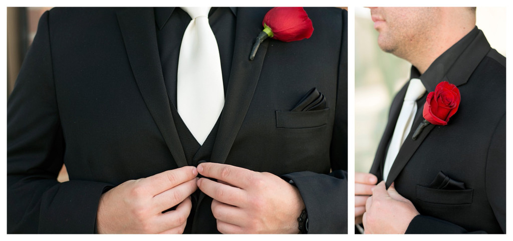 Groom getting ready at Golden hotel wedding in Golden, Colorado