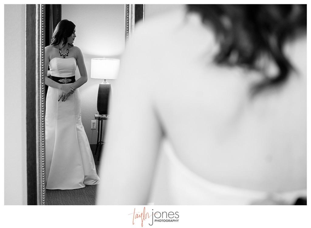 Bride getting ready at Golden hotel wedding in Golden, Colorado