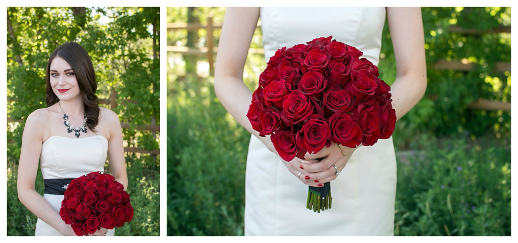 Bride getting ready with red roses at Golden hotel wedding in Golden, Colorado