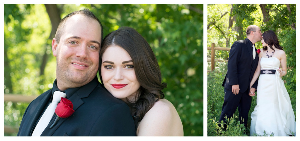 Couples portraits at Clear Creek history park and Golden hotel wedding in Golden, Colorado