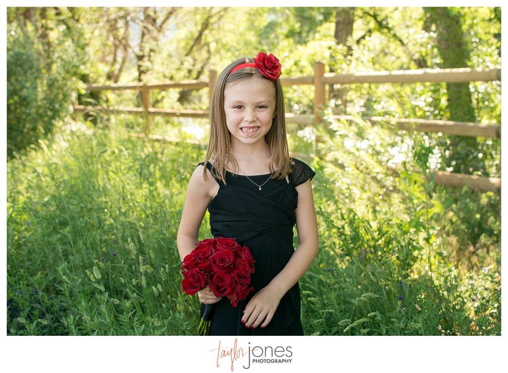 Junior bridesmaid at Clear Creek History Park Golden Colorado wedding