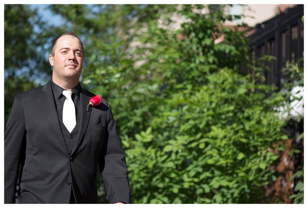 Groom at ceremony at Golden Hotel wedding Golden Colorado