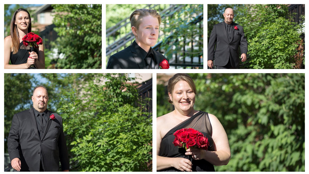 Bridal party at ceremony at Golden Hotel wedding Golden Colorado