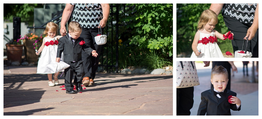 Flower girl and ring bearer at ceremony at Golden Hotel wedding Golden Colorado