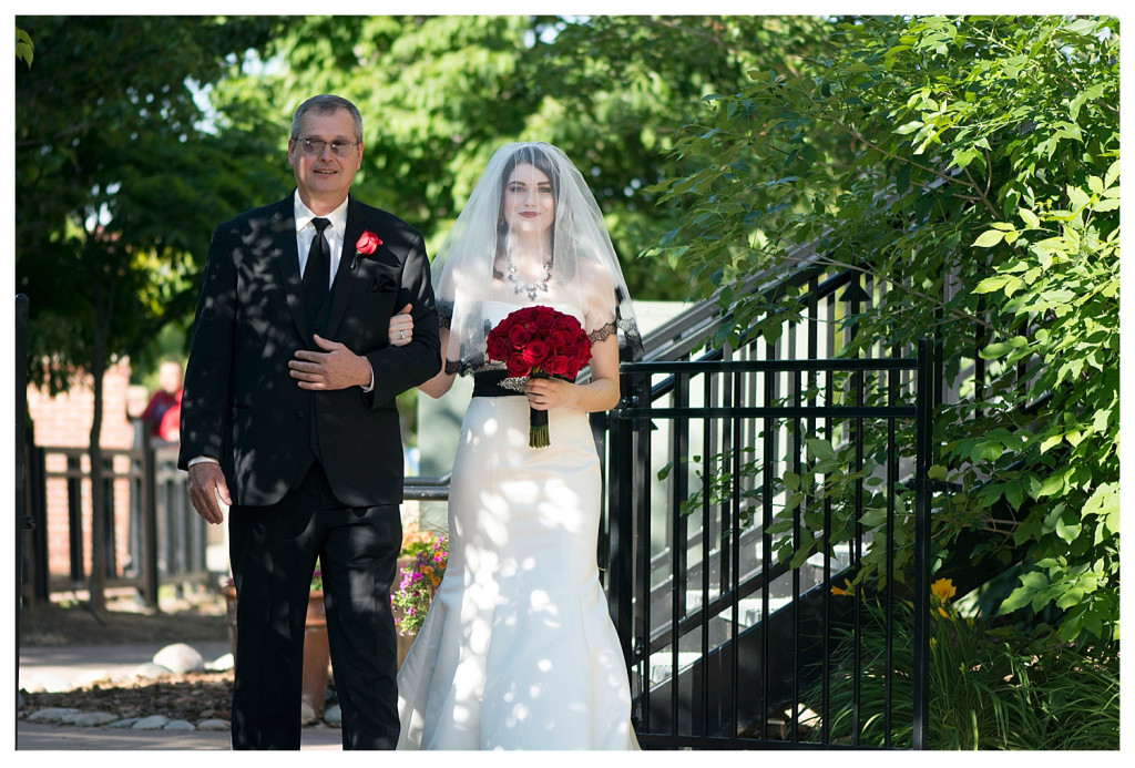 Bride and father at ceremony at Golden Hotel wedding Golden Colorado