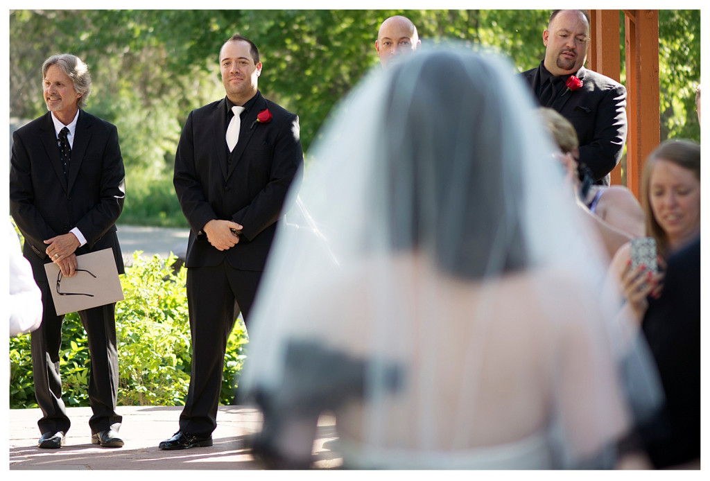 Groom at the alter at ceremony at Golden Hotel wedding Golden Colorado