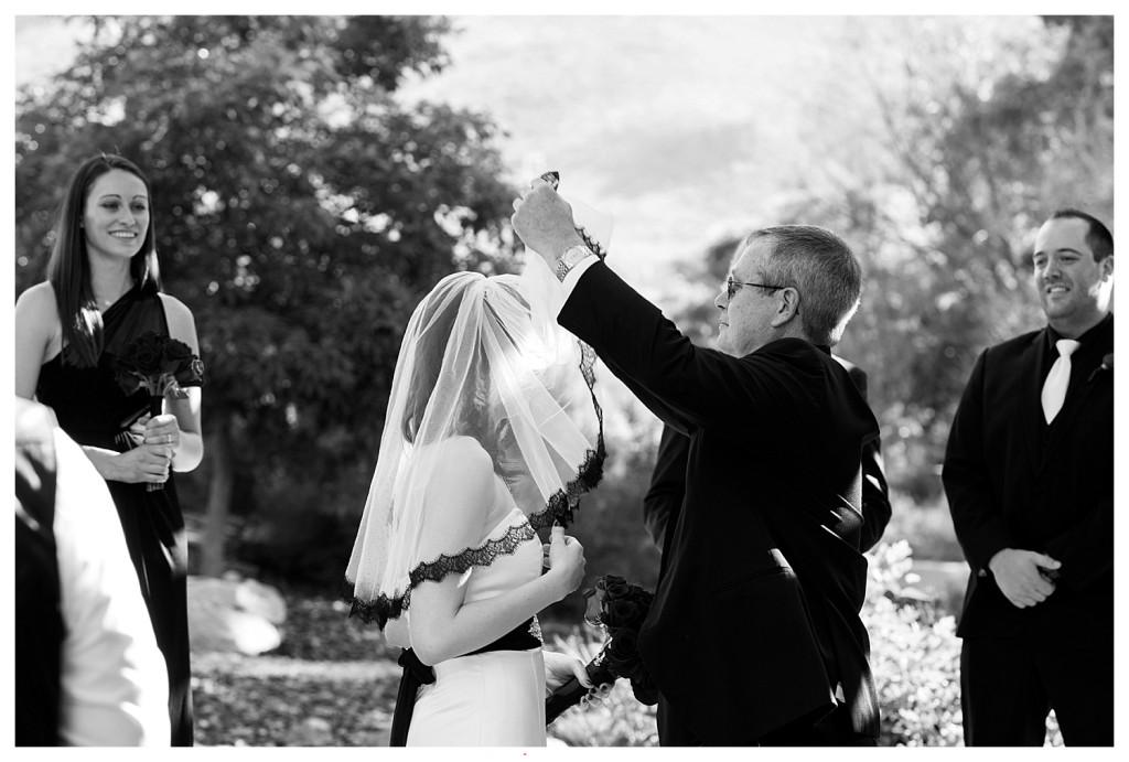 Bride at ceremony at Golden Hotel wedding Golden Colorado