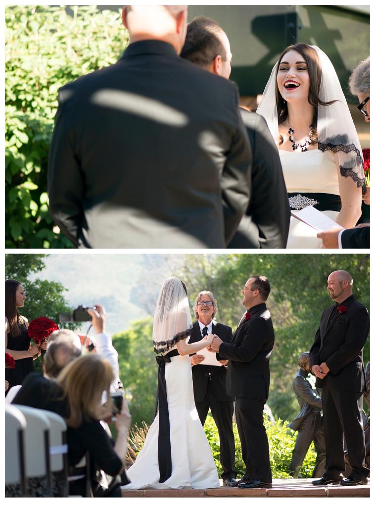 Bride and groom at ceremony at Golden Hotel wedding Golden Colorado