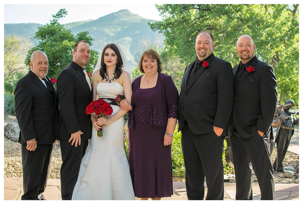 Family portraits at ceremony at Golden Hotel wedding Golden Colorado