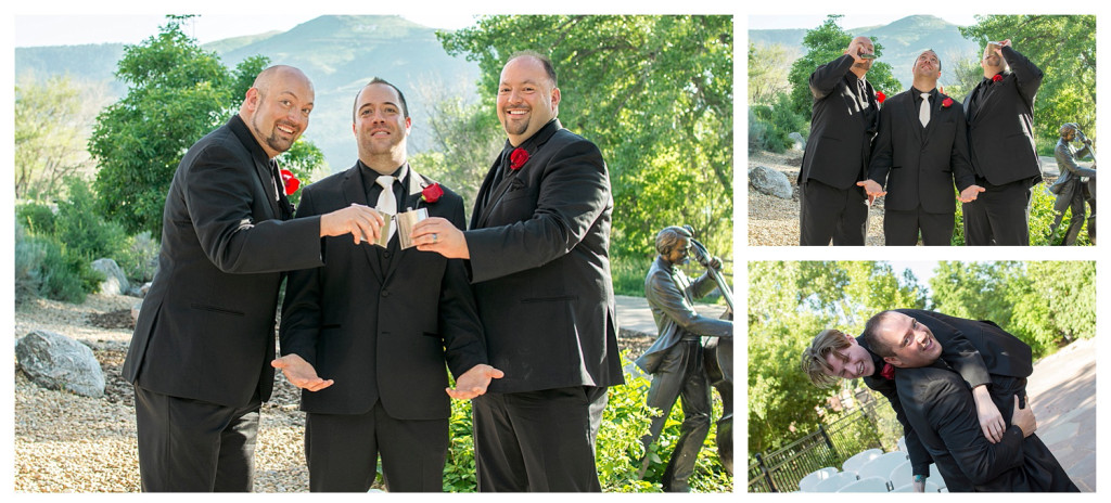 Groom and brothers at ceremony at Golden Hotel wedding Golden Colorado