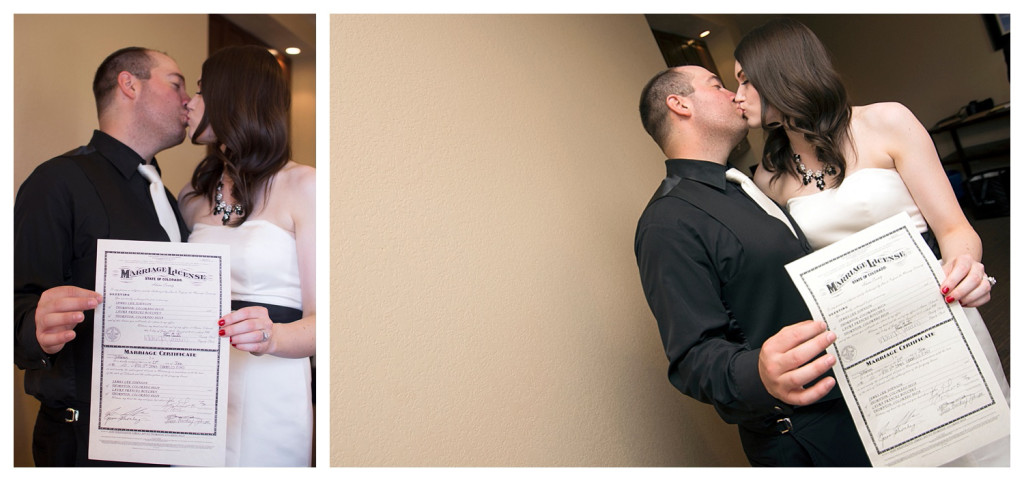 Signing the marriage license at ceremony at Golden Hotel wedding Golden Colorado