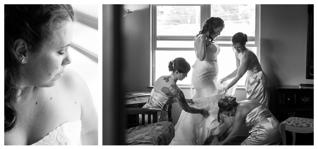 Bride putting on dress and getting ready for wedding at Mt. Vernon Country Club in Golden, Colorado