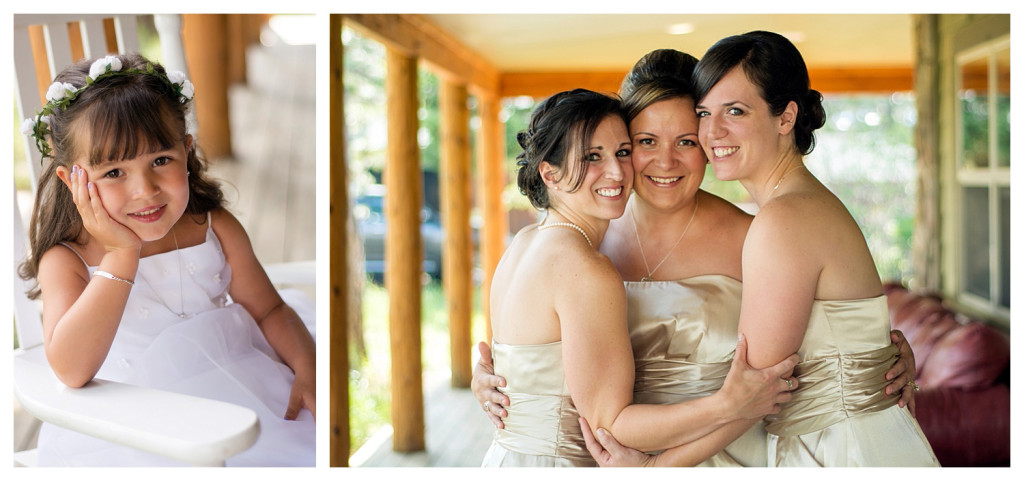 Bridesmaids and flower girl getting ready for Mt. Vernon Country Club wedding in Golden, Colorado