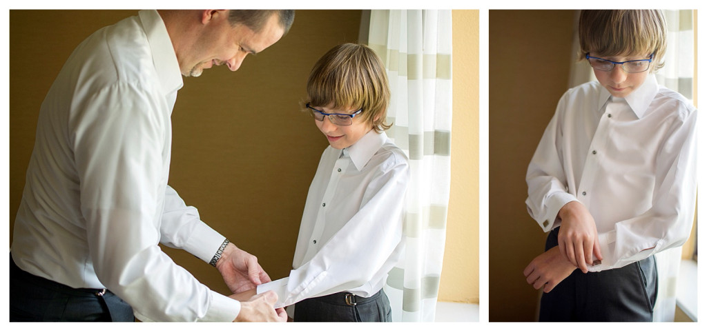 Groom and son getting ready for Mt. Vernon Country Club wedding in Golden, Colorado