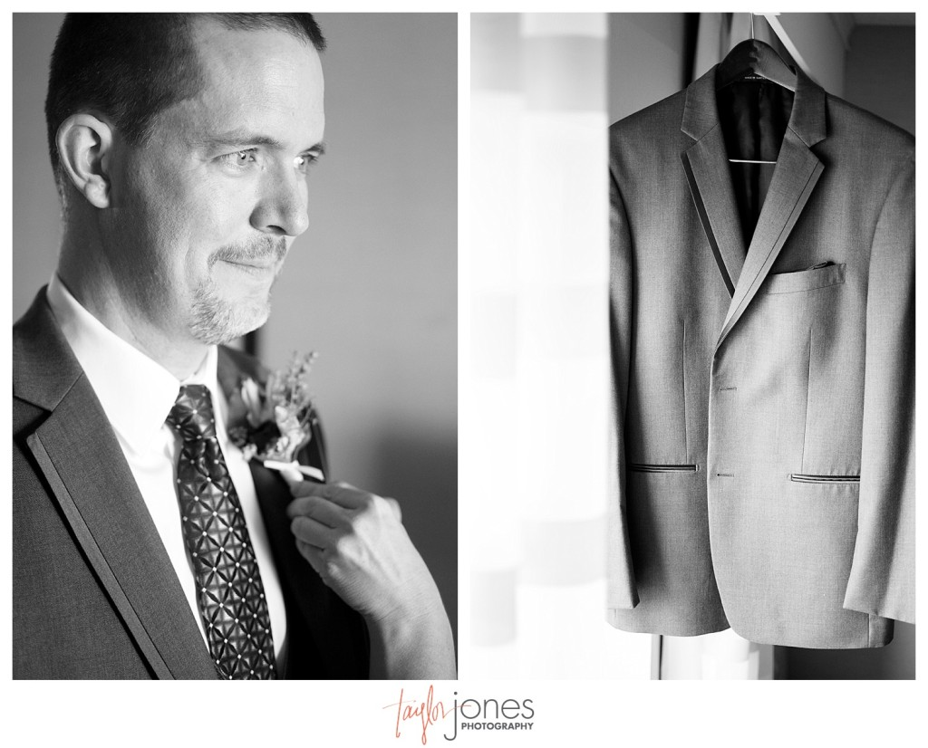 Groom getting ready for Mt. Vernon Country Club wedding in Golden, Colorado