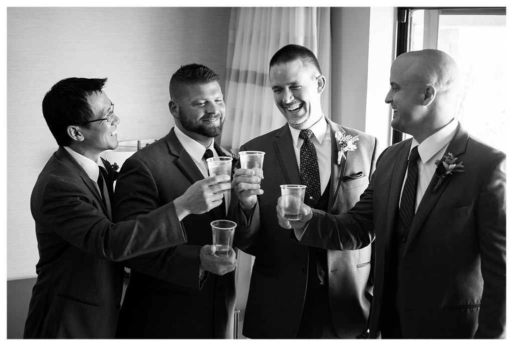 Groom and groomsmen getting ready for Mt. Vernon Country Club wedding in Golden, Colorado