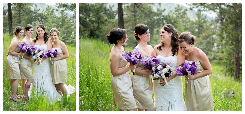 Bride and bridesmaids portraits at Mt. Vernon Country Club wedding in Golden, Colorado