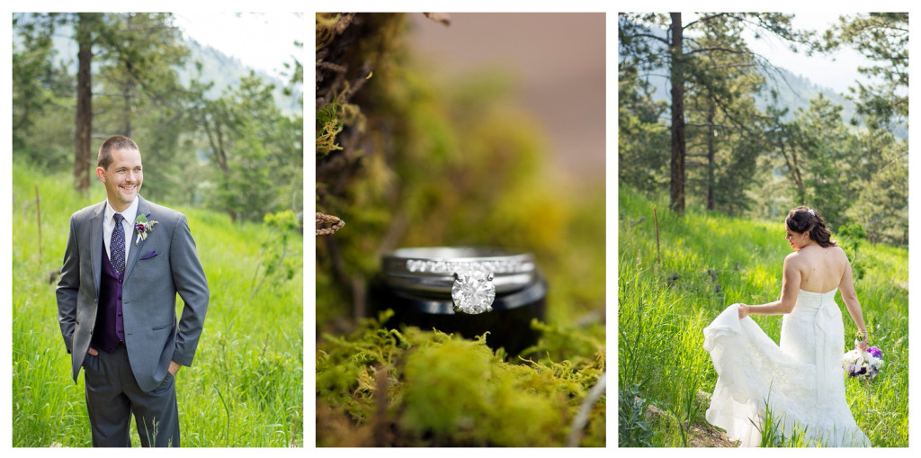 Groom, bride, and rings at Mt. Vernon Country Club wedding in Golden, Colorado