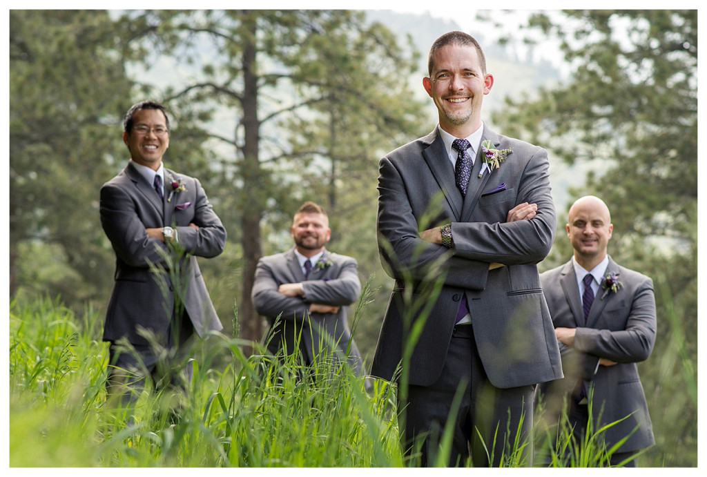 Groom and groomsmen at Mt. Vernon Country Club wedding in Golden, Colorado