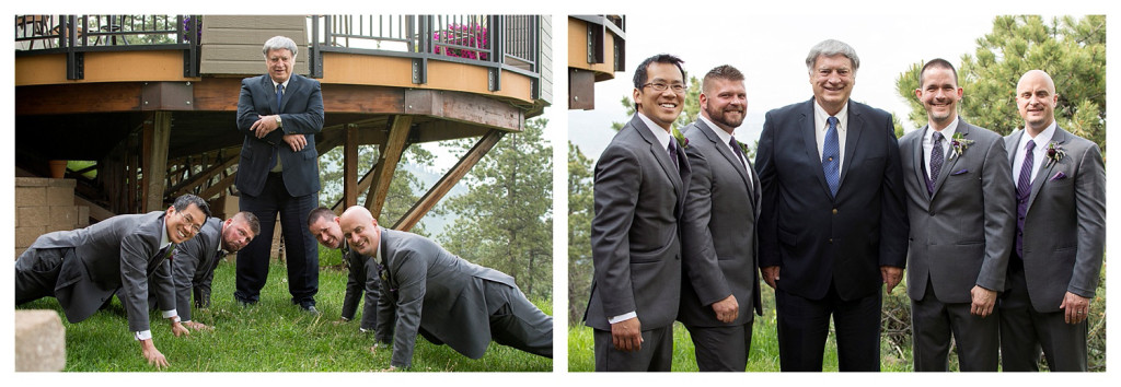 Groom, groomsmen, and judge at Mt. Vernon Country Club wedding in Golden, Colorado