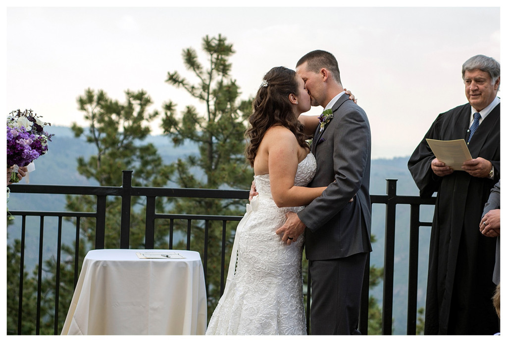 First kiss at Wedding ceremony at Mount Vernon Country Club in Golden, Colorado