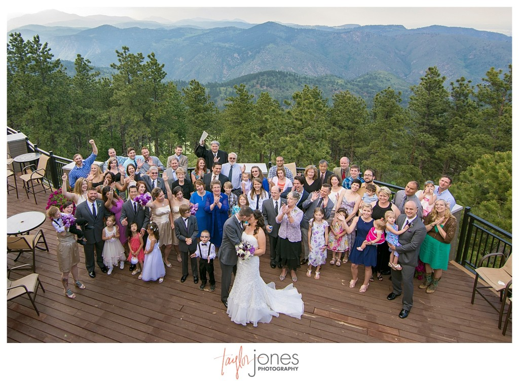 Group photo at Wedding ceremony at Mount Vernon Country Club in Golden, Colorado