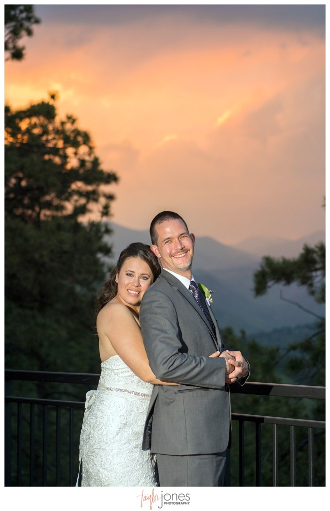 Bride and Groom at sunset at Reception at Mount Vernon Country Club Wedding