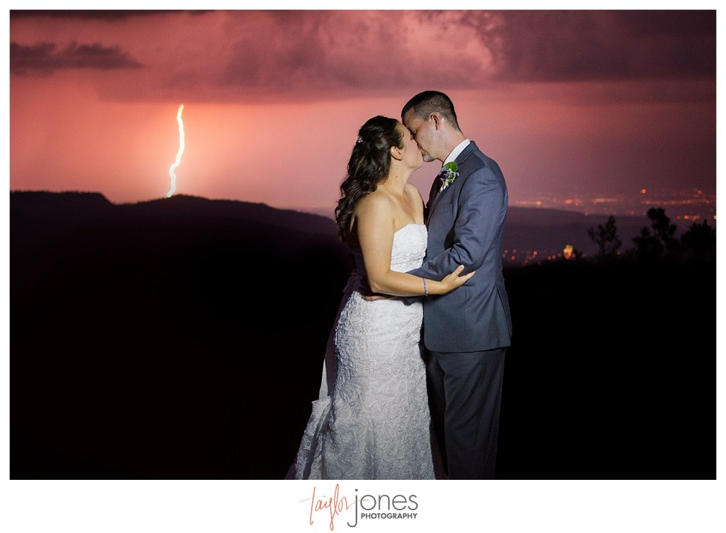 Bride and groom with lightning at Reception at Mount Vernon Country Club Wedding