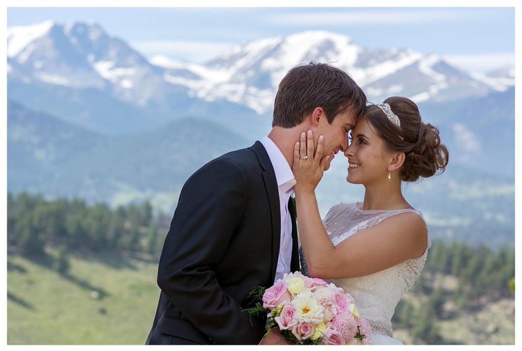 Couple at YMCA of the Rockies Estes Park Colorado wedding