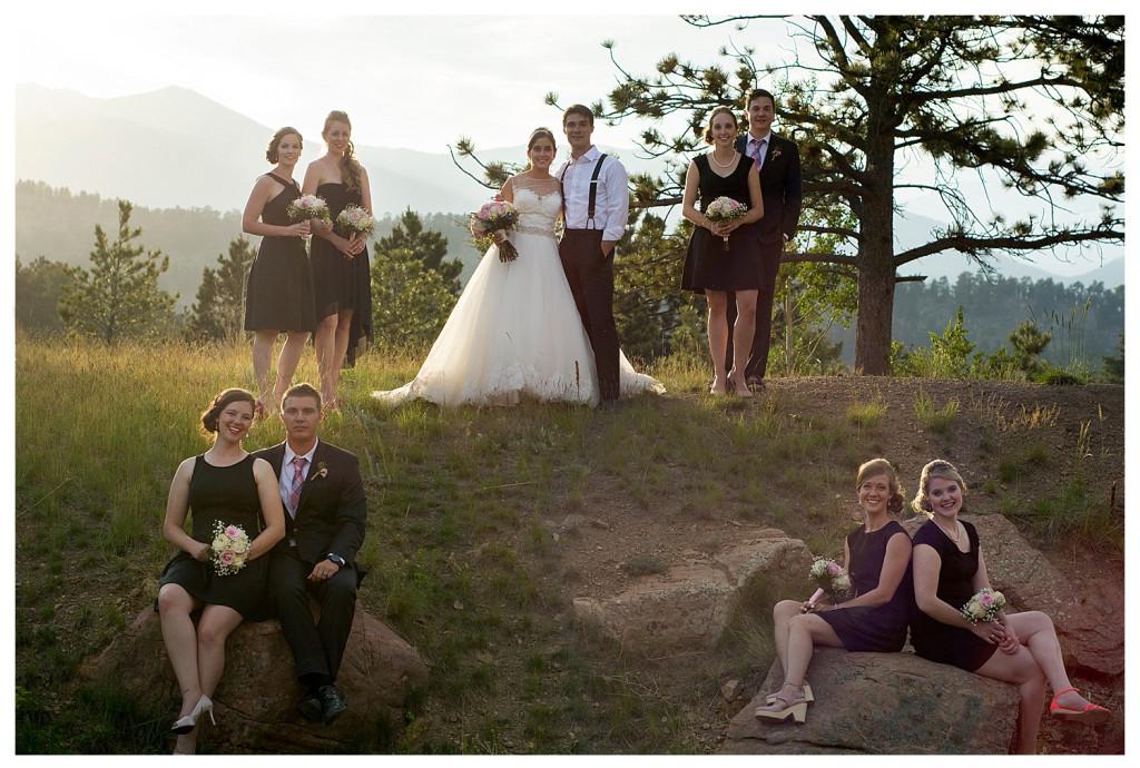 Bridal party at Reception at the YMCA of the Rockies wedding Estes Park Colorado