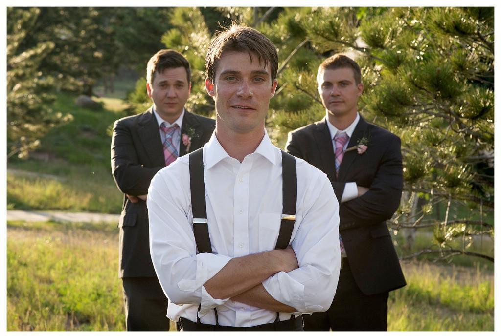 Groomsmen at Reception at the YMCA of the Rockies wedding Estes Park Colorado