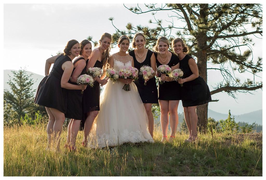 Bridesmaids at Reception at the YMCA of the Rockies wedding Estes Park Colorado