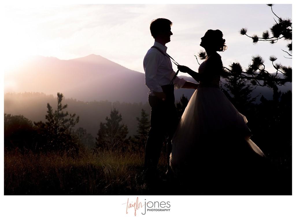 Bride and groom couple portraits at YMCA of the Rockies Estes Park Colorado