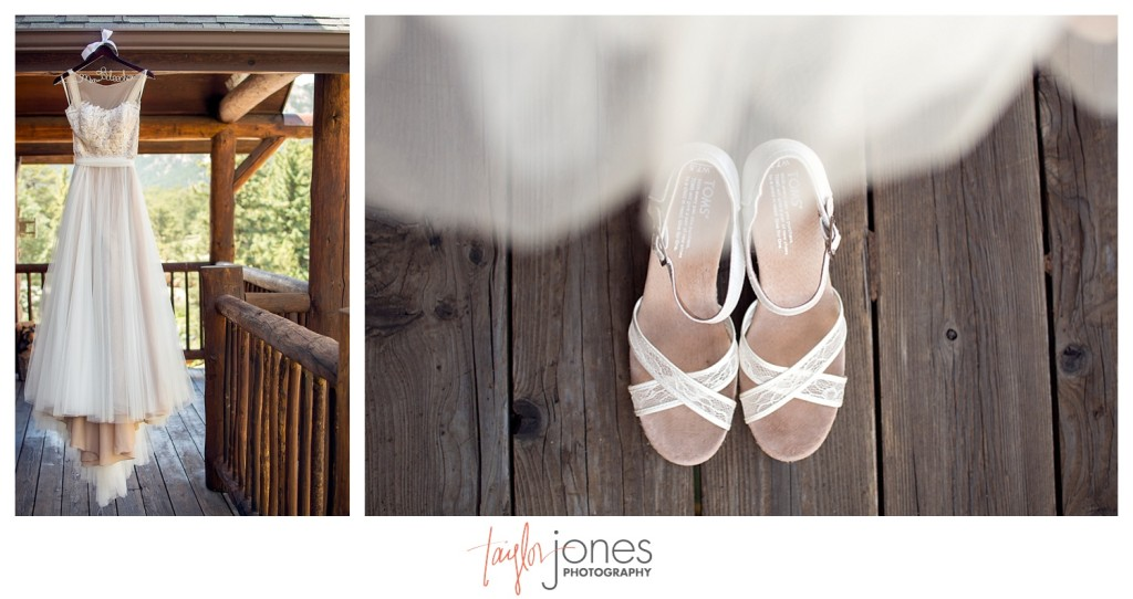 Black Canyon Inn Estes Park wedding dress and shoes